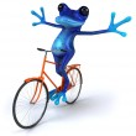 Frog on bicycle — Stock Photo