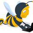 Fun bee with a laptop — Stock Photo