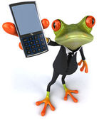 Fun frog with a mobile phone — Stock Photo