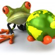 Frog with a green globe — Stock Photo