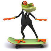 Frog on a skateboard — Stock Photo