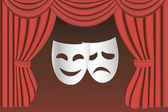 Theater masks and curtain — Stock Vector