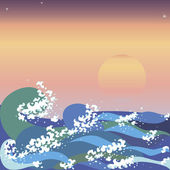 Sunset & sea waves in japanese style — Stock Vector