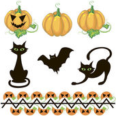 Halloween decor elements — Vecteur