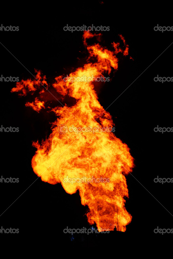 Burning natural gas in a black background — Stock Photo #5741913