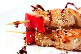 Japanese kebabs chicken — Stock Photo
