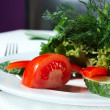 Stock Photo: Vegetables and greens on plate