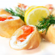 Pancakes with salted salmon and fetcheese — Stock Photo #5969067