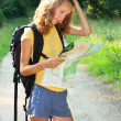 Girl tourist at puzzlement — Stock Photo #6157494