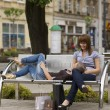 Resting on the bench — Stock Photo