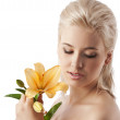 Beauty girl with big lily — Stock Photo #6254350
