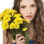 chica joven con la flor — Foto de Stock