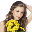 Fresh girl with yellow flower — Stock Photo