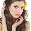 Foto Stock: Fresh girl with yellow flower
