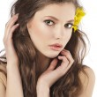 Stockfoto: Fresh girl with yellow flower