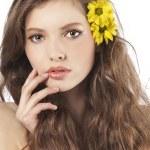 Fresh girl with yellow flower — Stock Photo #6255245