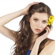Fresh girl with yellow flower — Stock Photo #6255247