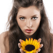 Pretty girl with sunflower — Stock Photo #6255293