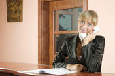 Talking with telephone — Stock Photo