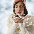 Sweet girl pink hat and snow flakes — Stock Photo #6275287