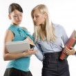 Two student and books — Stock Photo