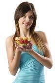 Fitness fruit girl — Stock Photo
