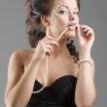 Sensual girl in balck corset — Stock Photo
