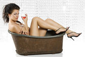 Naked with red wine — Stock Photo