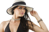 Cute brunette with hat — Stock Photo