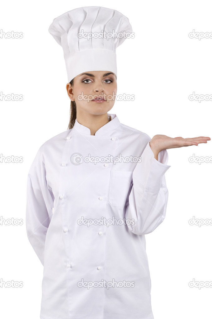 Young graceful woman dressed as a cook with cap over white backgound — Stock Photo #6295333