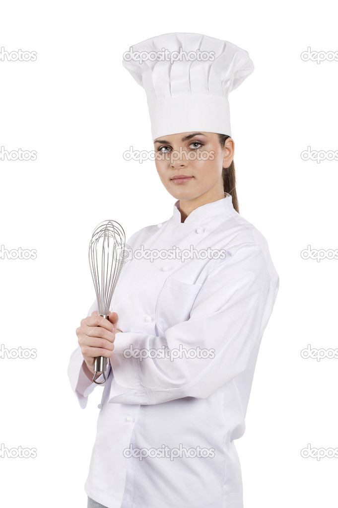 Young graceful woman dressed as a cook with cap over white backgound  Stock Photo #6295338