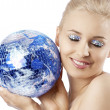 Blond with creative make up an shining ball — Foto de Stock