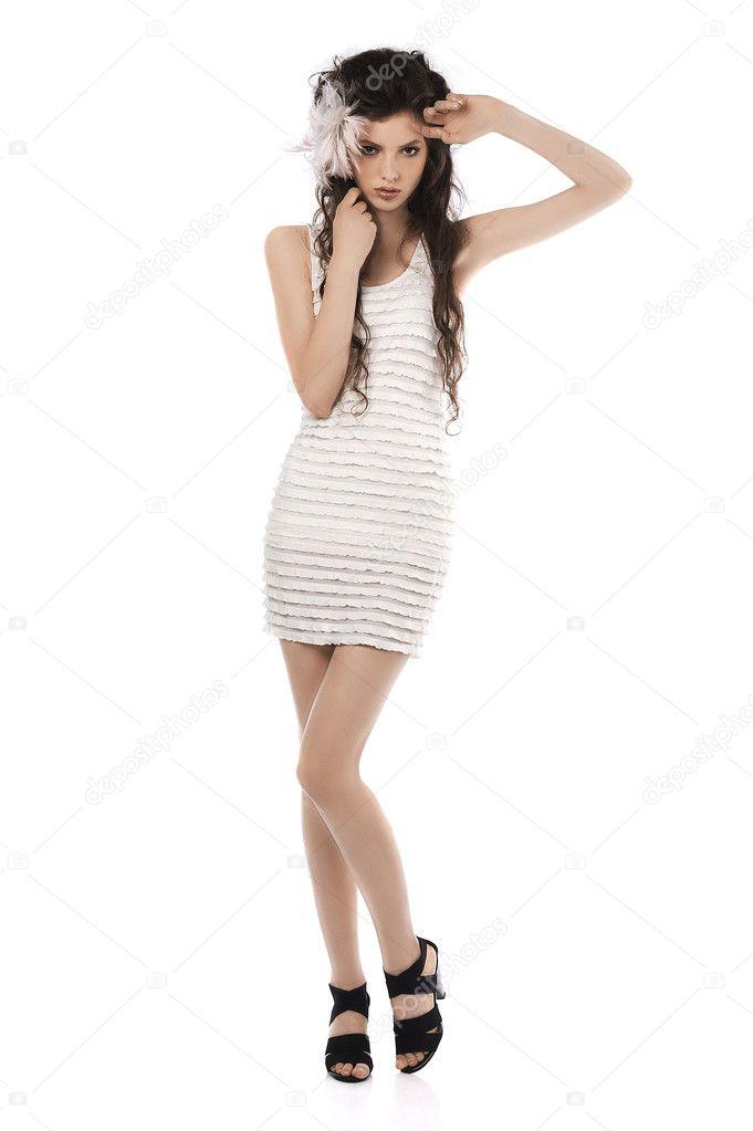 Stock Photo Full Body Shot Of Posing Model In White Dress And Long Hair