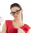 Woman showing card making face — Stock Photo