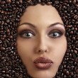 Stock Photo: Portrait of pretty girl laying among coffee beans