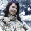 Pretty woman outside in winter — Stock Photo