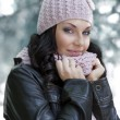 Pink hat and scarf - Stock Photo