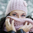 Behind the scarf — Stock Photo
