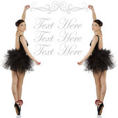 Ballerina in black with copyspace — Stock Photo