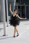 Ballerina in black tutu — Stock Photo