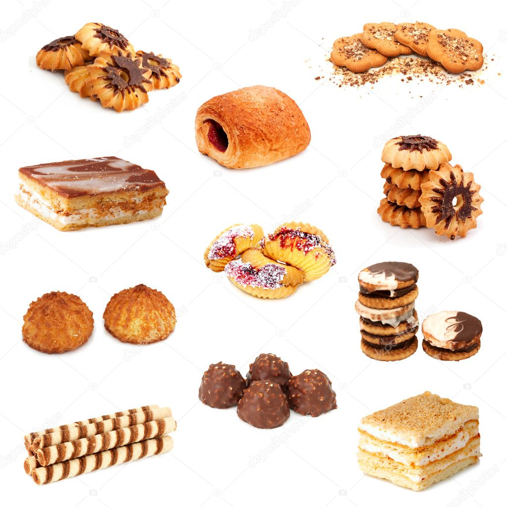 Collection of sweets over white — Stock Photo #5724749