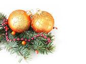 Fir branches and Christmas balls — Stockfoto