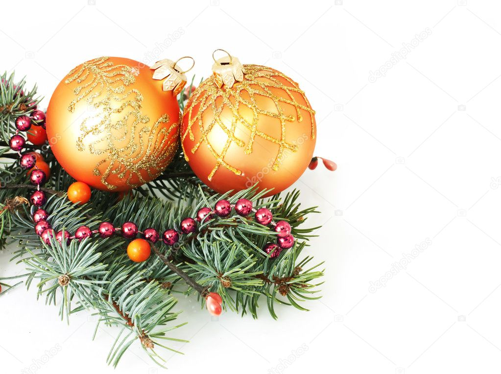 Fir branches and Christmas balls over white — Stock Photo #6009908
