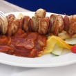 Beef skewers with vegetables - Foto Stock