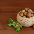 Hazelnuts in a basket — Stock Photo