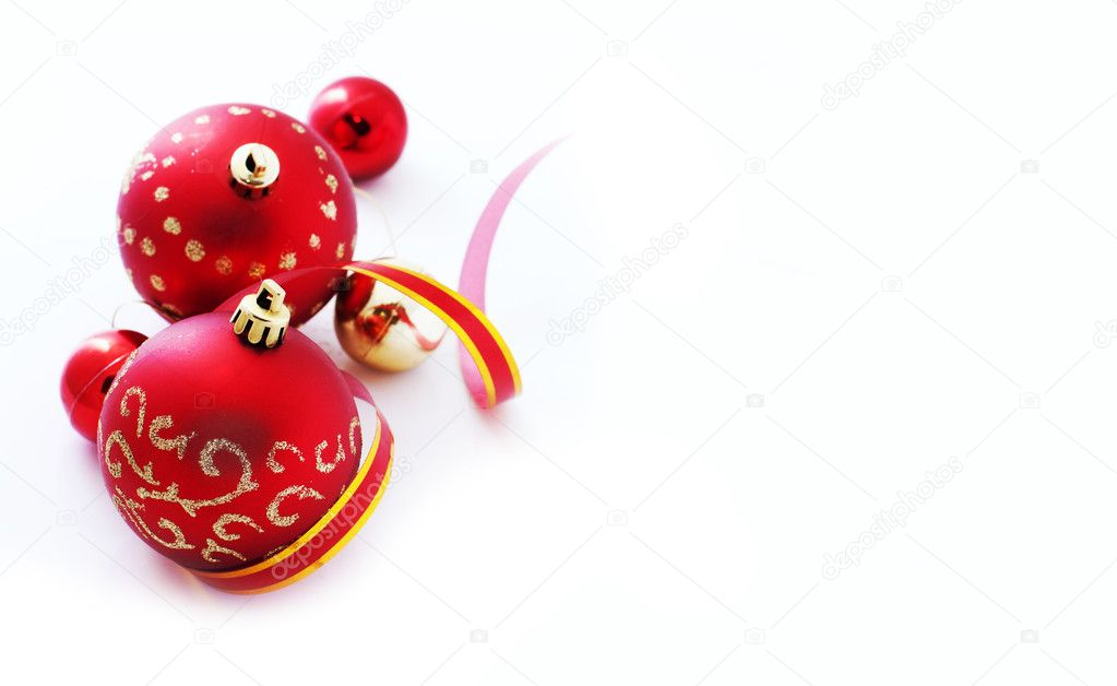 Red christmas balls over white — Stock Photo #6540276