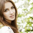 Beautiful Spring Girl with flowers — Foto Stock