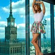 Brunette on the background of the city - Foto de Stock