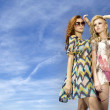 Two beautiful girl in sunglasses on background blue sky — Stock Photo #5811095
