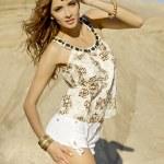 Beautyful girl in desert — Stock Photo #5811121